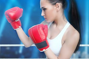 Woman in boxing gloves