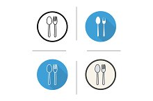 Fork and spoon. 4 icons. Vector