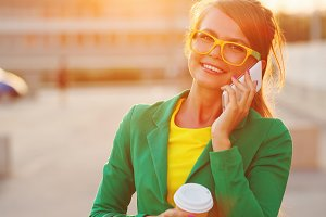 Businesswoman speaks by phone