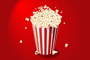 Popcorn Bucket on red background