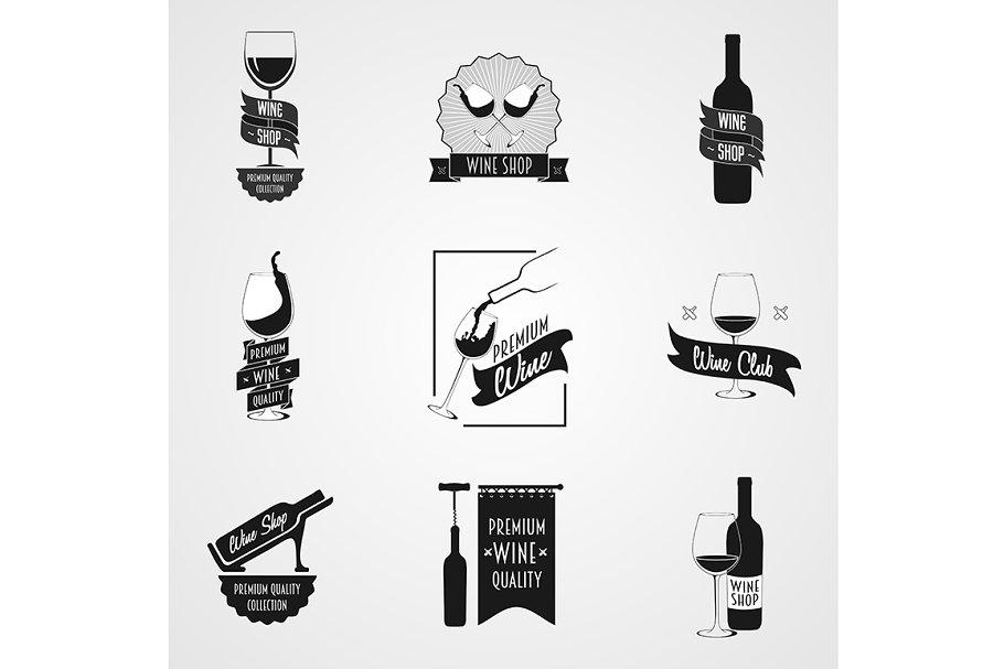 Set of wine logo