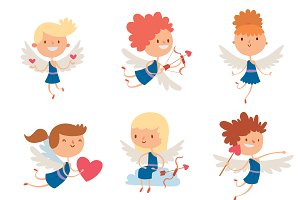 Valentine Day cupid angels vector