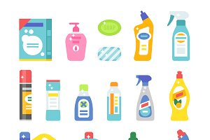 Cleaning products flat vector icons