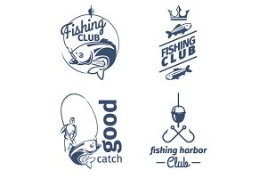 Vector fishing club emblems