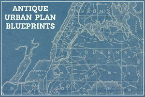 Antique Urban Plan Blueprints