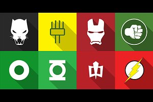 Flat Superhero Icons