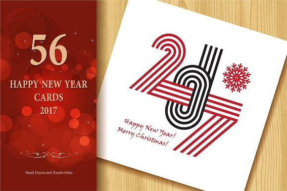 2017 happy new year greeting cards graphics