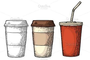 Coffee cap cup holder Cola straws