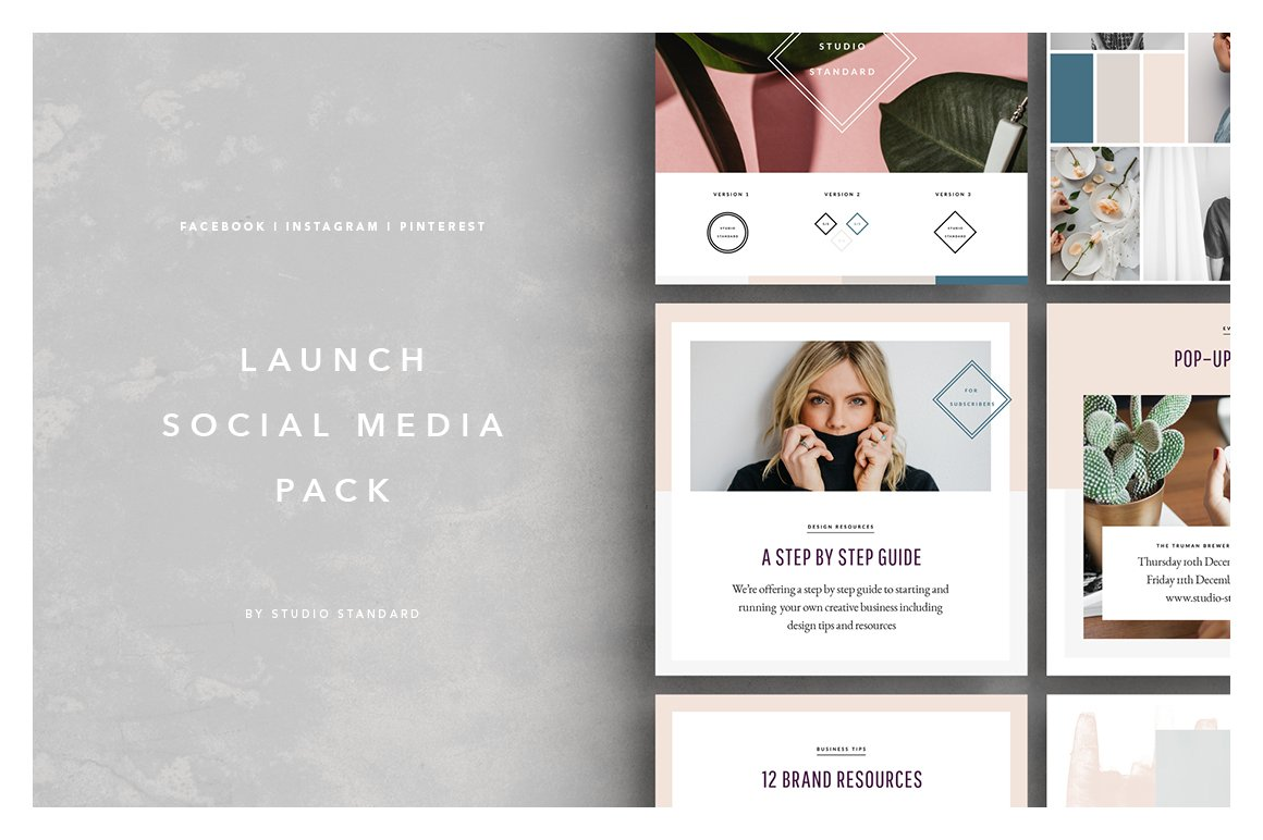 launch social media pack instagram templates creative market. Black Bedroom Furniture Sets. Home Design Ideas
