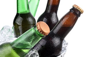 Beer Bottles in Ice Bucket Closeup