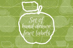 Set of hand drawn fruit labels