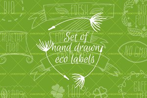 Set of hand drawn eco labels