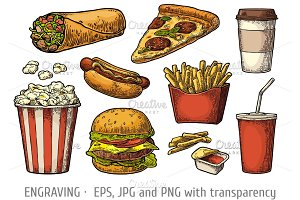 Set fast food and drinks engraving