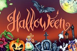 Halloween watercolor illustrations