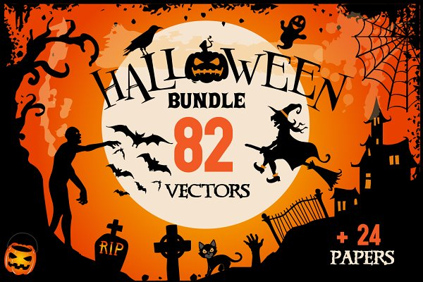 Halloween Clipart bundle 82 element…
