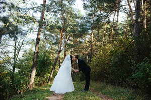 Beautiful wedding couple kissing