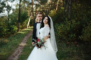 Beautiful wedding couple posing