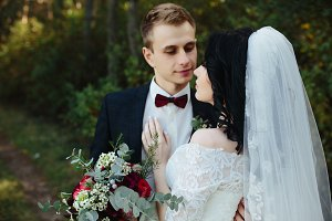 Bridal couple close to each other