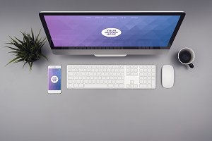 iMac and iPhone mockup