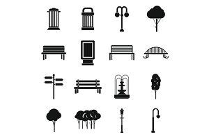 Park icons set, simple ctyle