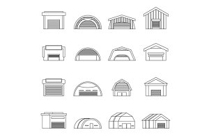Hangar icons set, outline ctyle