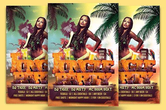 jungle party flyer template flyer templates creative market
