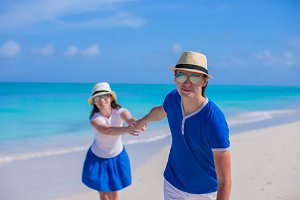 Young happy couple have fun on Caribbean vacation