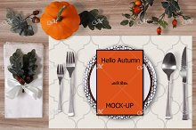 Autumn table Mockup. Menu, placemat.