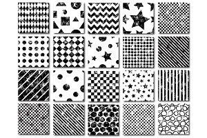 Set of 20 grunge geometric patterns