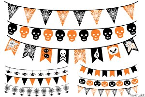 Halloween Bunting, Banner Clipart