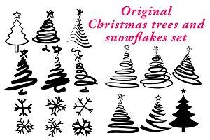 Christmas trees and snowflakes set