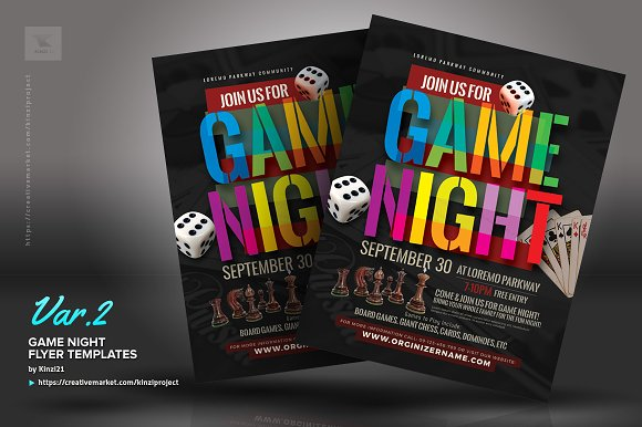 game night flyer templates flyer templates creative market