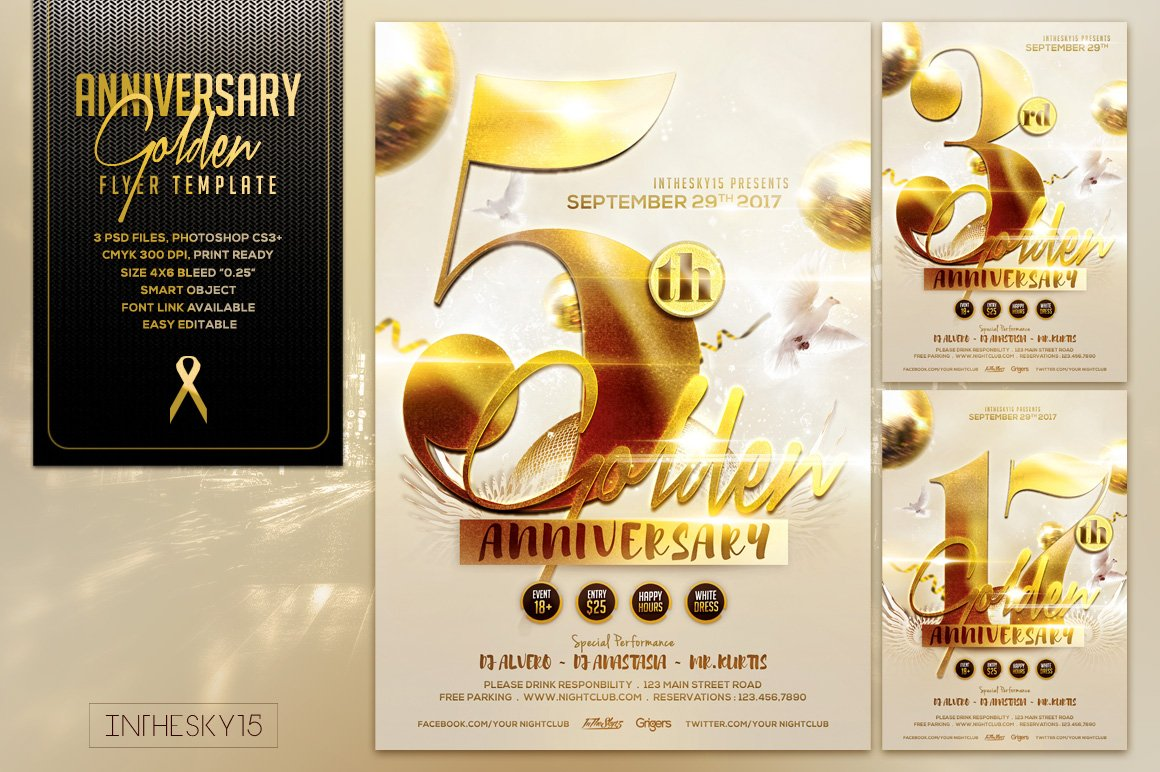 Golden Anniversary Flyer Template ~ Flyer Templates ~ Creative Market