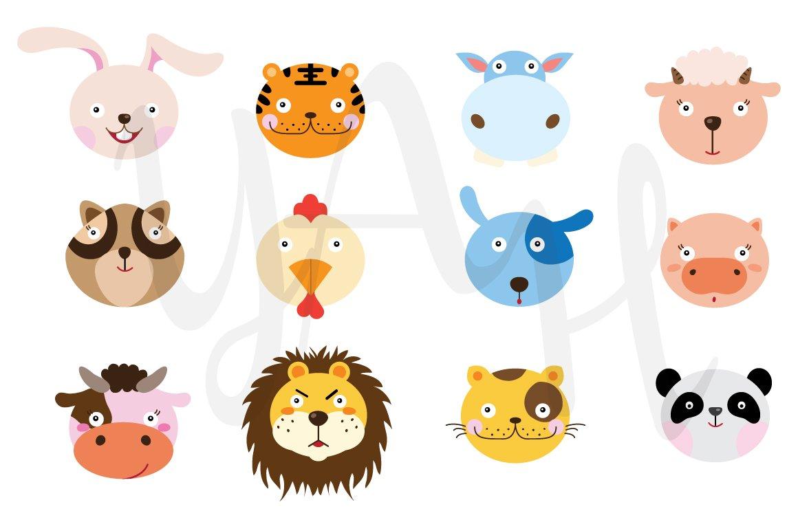 animal clip cute clipart illustrations graphics zoo vectors designs faces cartoon market
