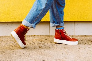 Stylish red sneakers. Urban fashion
