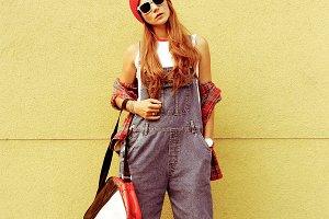 Fashion Style Girl. Go to Shcool