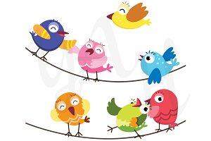 Colorful Happy Birds