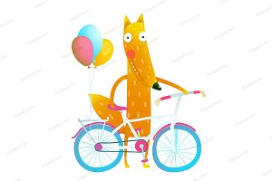 Fox with bicycle and balloons