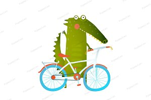 Green crocodile with bicycle
