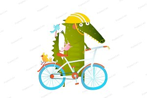 Crocodile in helmet with bicycle