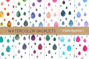Watercolor Droplets Digital Paper
