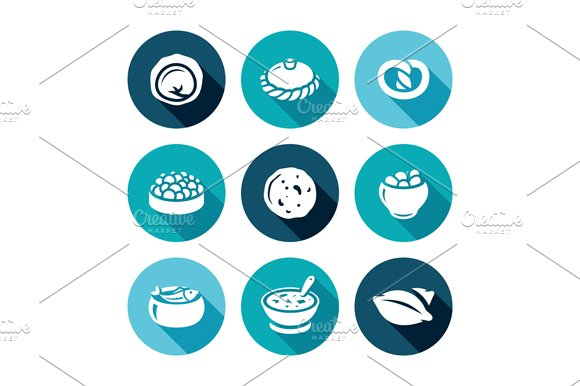 Russian traditional cuisine in Icons