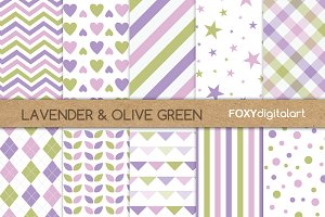 Purple Green Digital Paper Pack