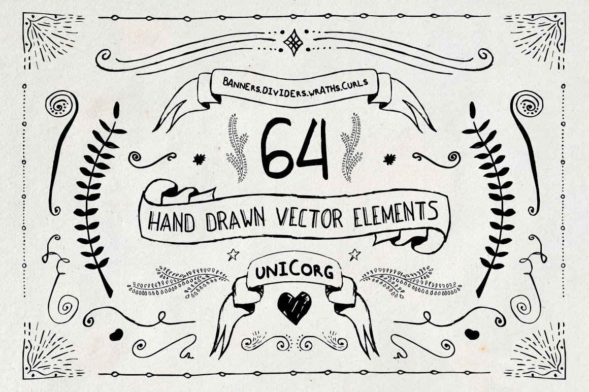Drawing Lines In Photo Elements : Hand drawn vector elements pt illustrations creative