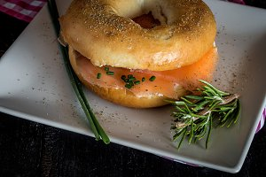 with a smoked salmon bage