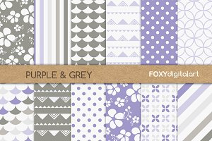Digital Paper Purple Grey Scrapbook