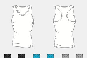 Set of singlets templates for men.