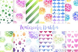 Watercolor Digital Paper Scrapbook