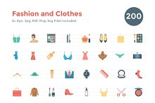 200 Flat Fashion and Clothes Icons