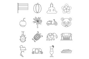Costa Rica icons set, outline ctyle